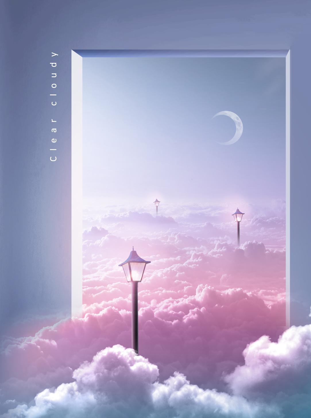 [单独购买] 14款创意梦幻唯美白云云朵企业主视觉KV展板海报设计PSD模版 Cloud Sale Poster Template插图6