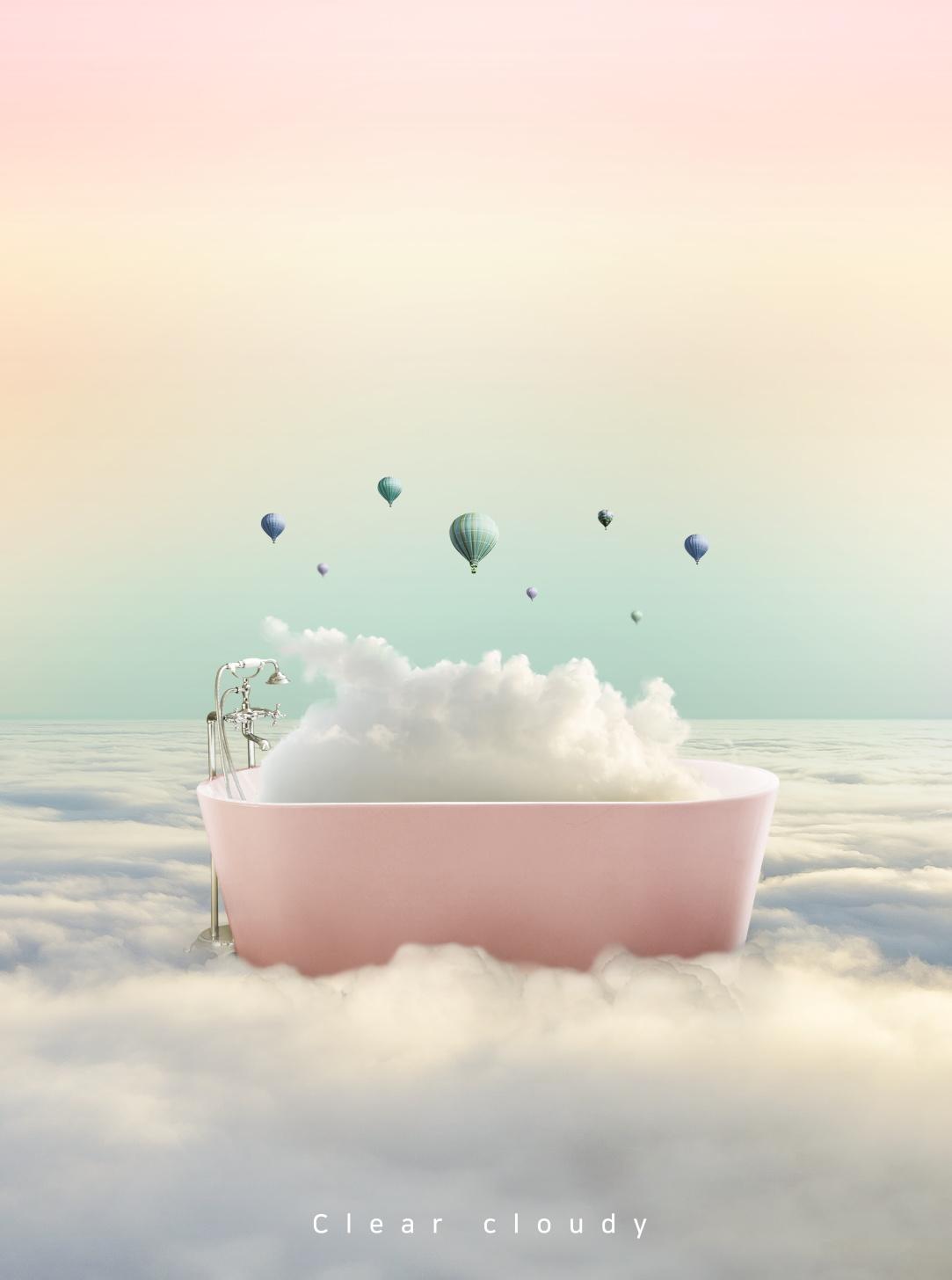 [单独购买] 14款创意梦幻唯美白云云朵企业主视觉KV展板海报设计PSD模版 Cloud Sale Poster Template插图7