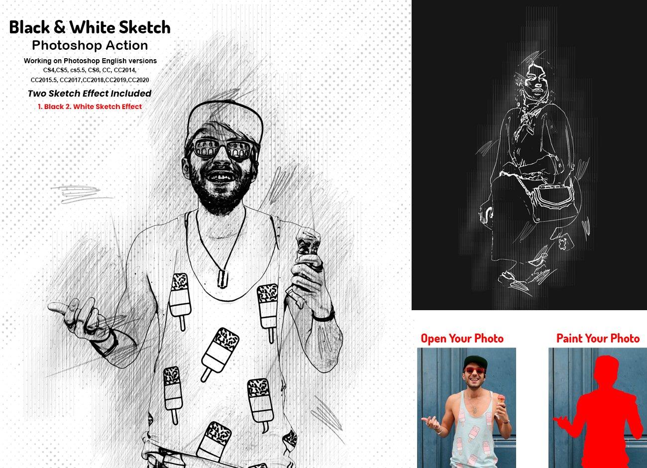 黑白素描艺术画效果照片处理特效PS动作素材 Black & White Sketch PS Action插图