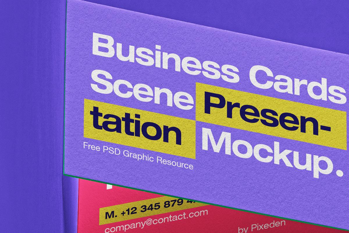 商务名片卡片设计展示PSD样机模板 Business Card Psd Scene Mockup Set插图1