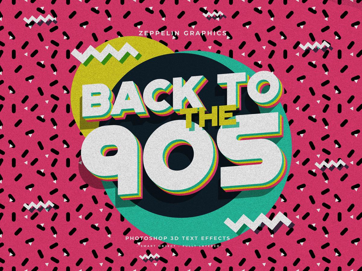10个复古90年代3D立体标题徽标Logo设计PS样机模板素材 90s Text Effects插图