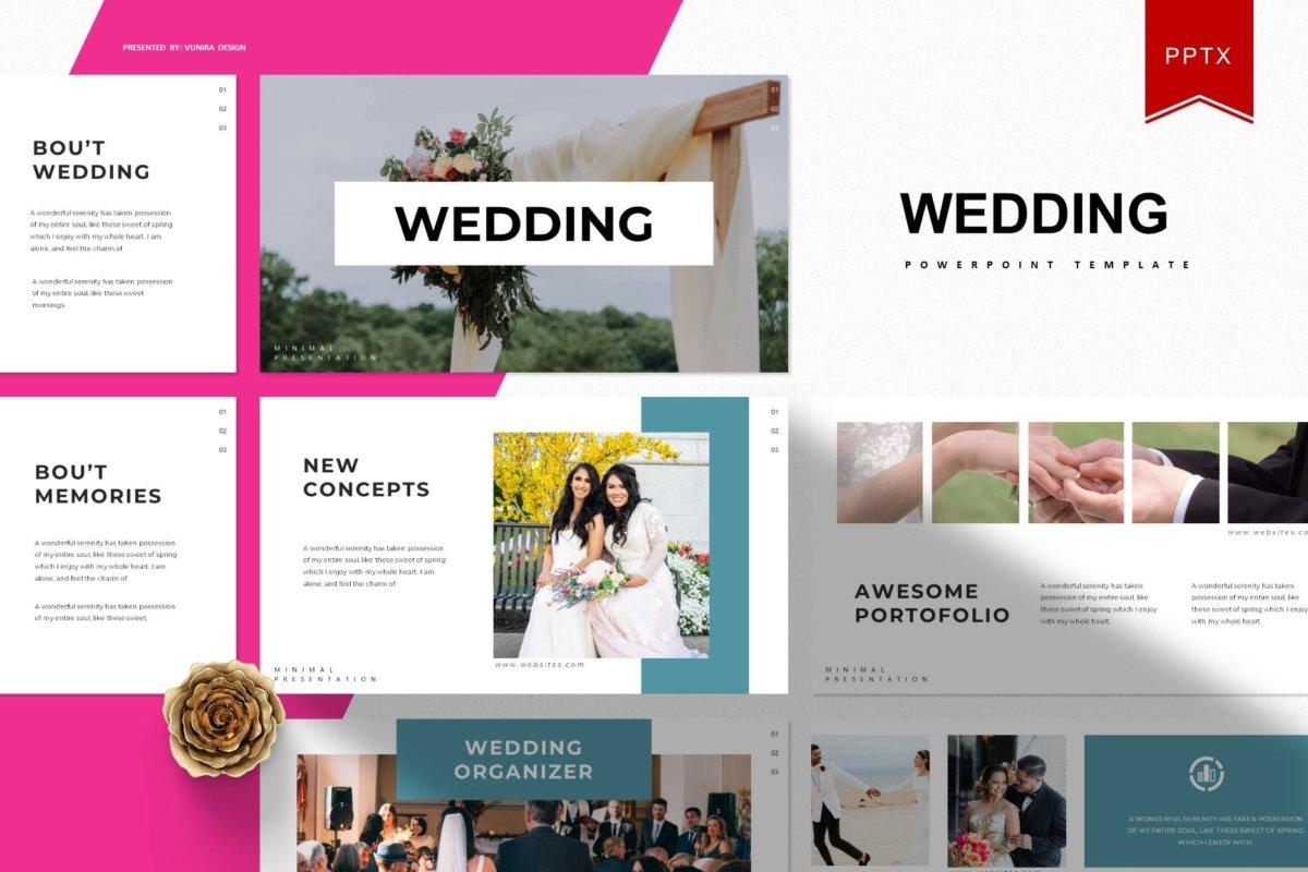 唯美婚礼摄影作品集演示文稿设计模板 Wedding  Powerpoint Template插图