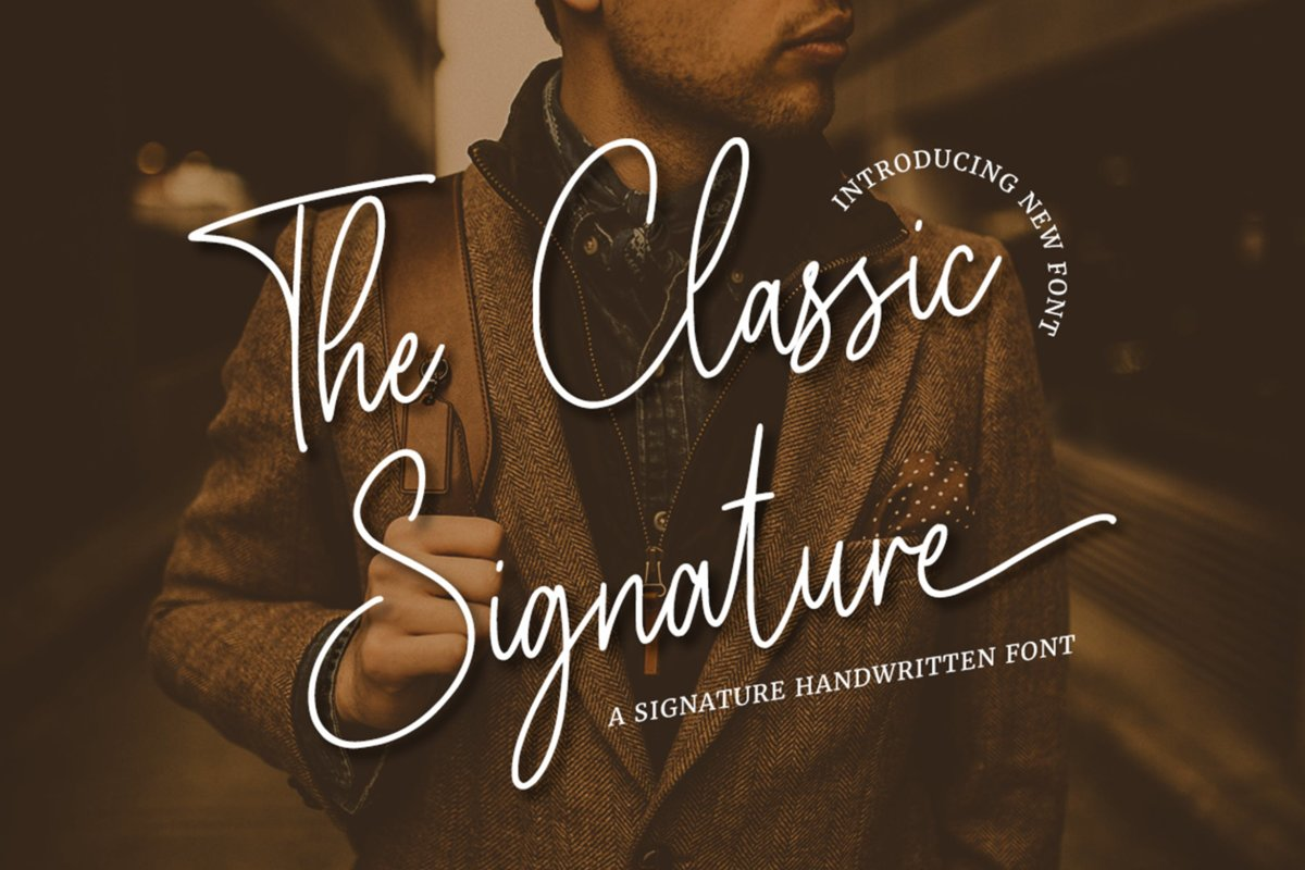 潮流复古品牌徽标设计签名手写字体 The Classic Signature插图