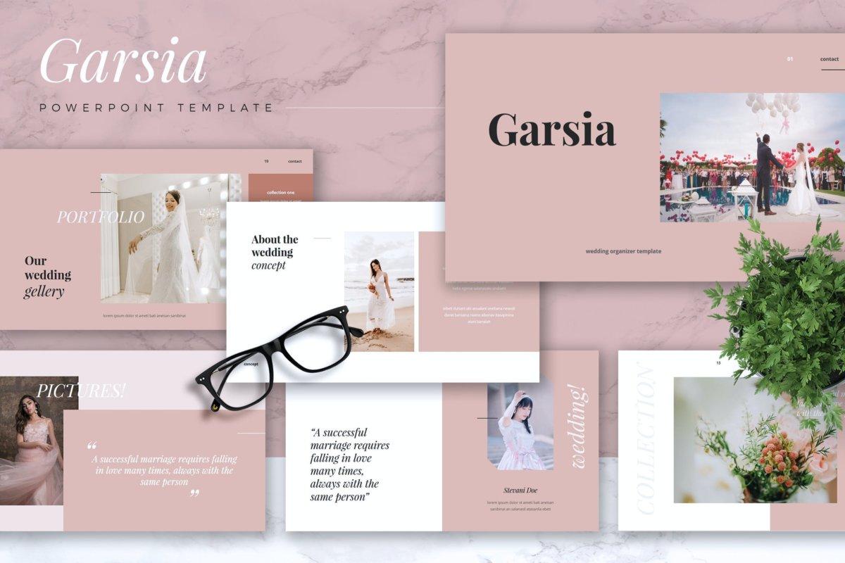 精美粉色系婚礼摄影作品集演示文稿设计模板 GARSIA – Wedding Organization Powerpoint Template插图