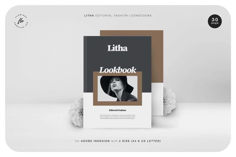 时尚服装设计作品集排版设计INDD画册模版 Litha Editorial Fashion Lookbook插图