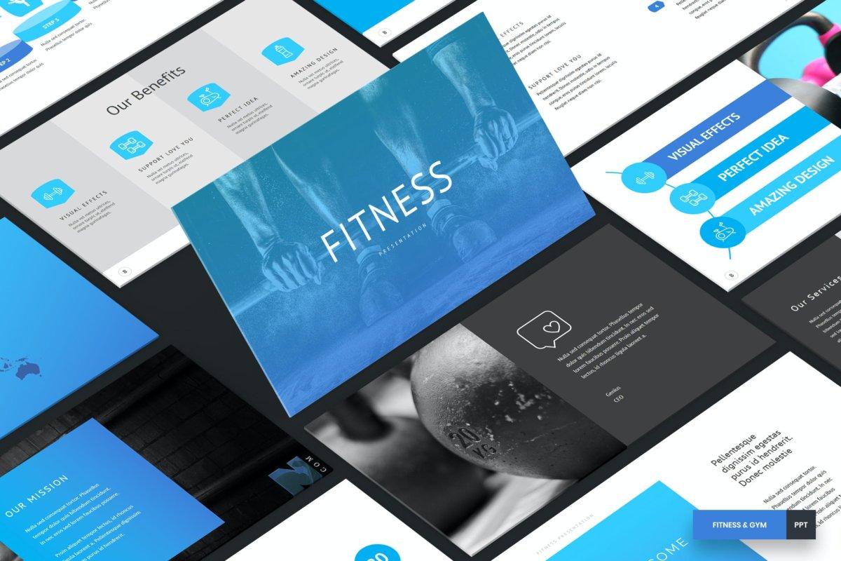 时尚简约健身主题营销策划演示文稿设计模板 Fitness and Gym – PowerPoint Template插图
