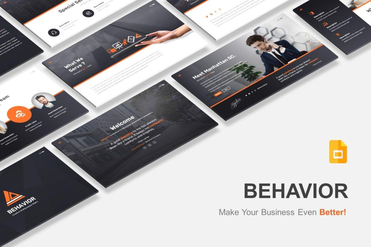 多用途黑白色系商业幻灯片模版 Behavior – Multipurpose Google Slides Template插图