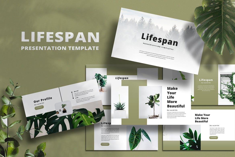 绿色系简约作品集演示文稿设计模板 Lifespan – PowerPoint Template插图