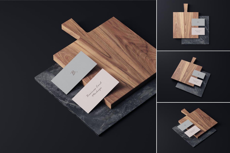 4个商务名片卡片设计样机模板 Business Card Mockups插图