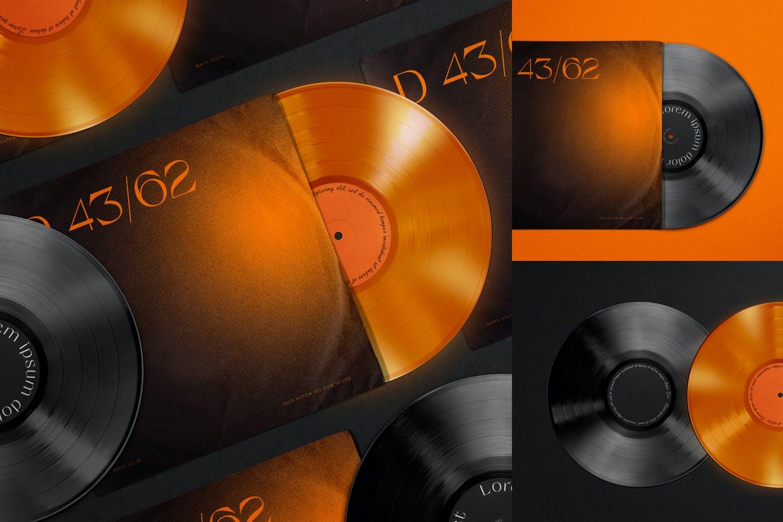复古黑胶唱片包装袋设计PS贴图样机模板 Vinyl Record & Cover Mockup插图