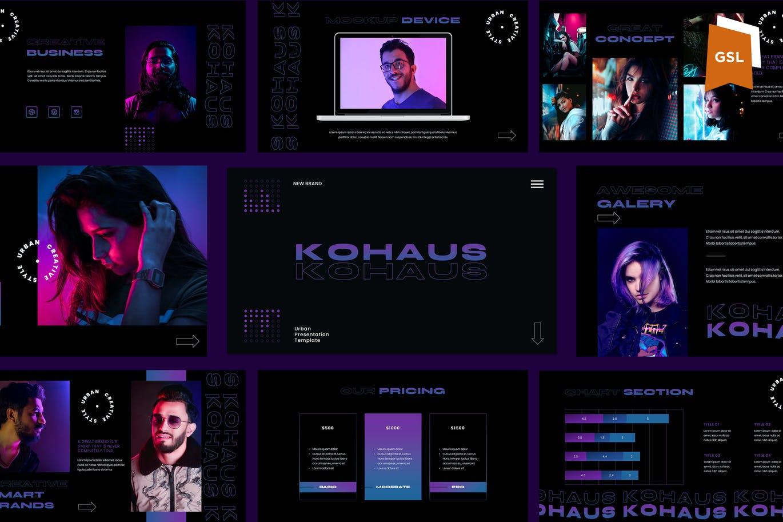 潮流霓虹效果摄影作品集设计Keynote演示文稿模板 Kohaus Keynote Template插图