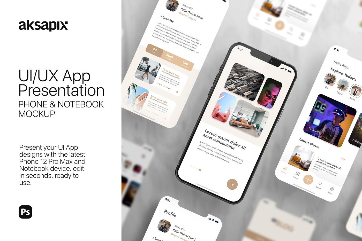 15个自适应网页APP界面设计苹果设备屏幕演示样机模板 UI/UX App Presentation – Phone & Notebook Mockup插图