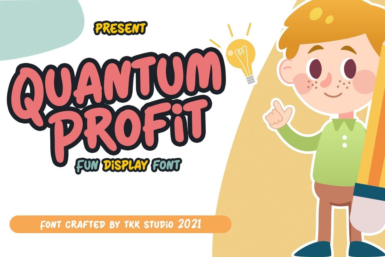 可爱卡通海报电影标题徽标Logo设计手写英文字体素材 Quantum Profit Font插图