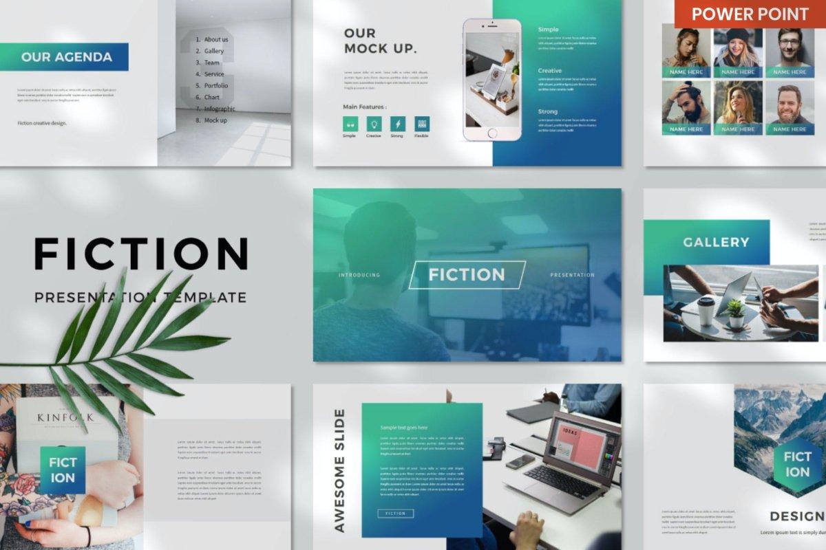 优雅企业作品集演示文稿设计模板 Fiction Business PowerPoint插图