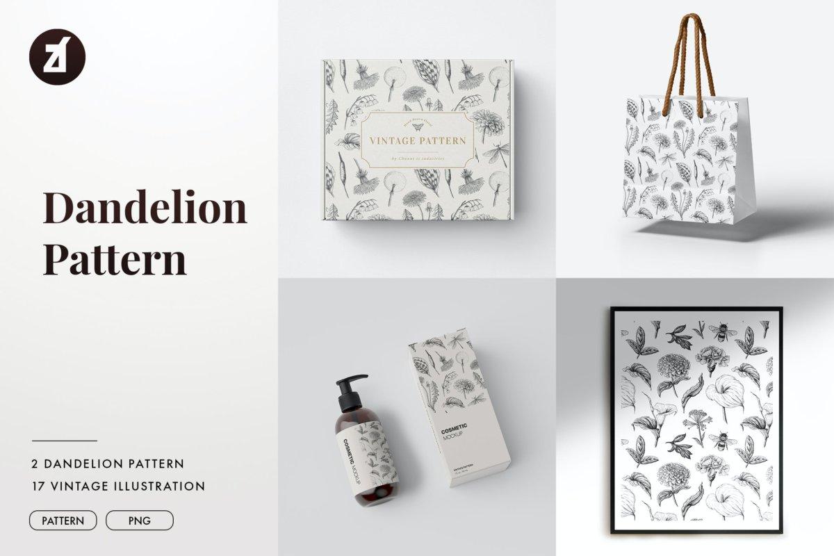 复古蒲公英手绘插画背景图案PS设计素材 Dandelion vintage illustration and pattern插图