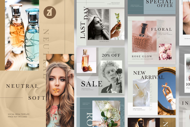 时尚化妆护肤品品牌推广新媒体电商海报模板 Soft Neutral Social Media Graphic Templates插图