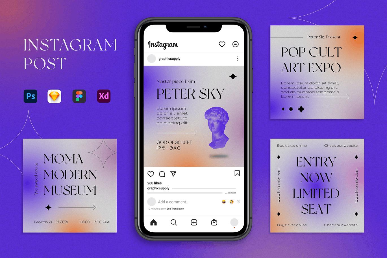 潮流酸性品牌推广新媒体电商海报设计模板 Instagram Post插图