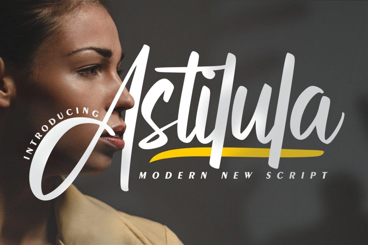 现代毛笔书法风格海报贺卡邀请函设计手写英文字体 Astilula | Modern New Script Font插图