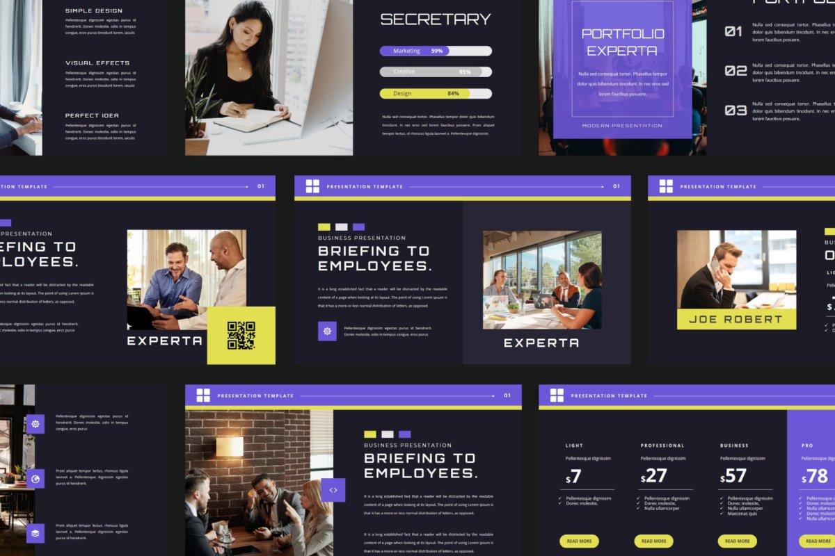 潮流企业营销策划提案简报演示文稿设计模板 EXPERTA Powerpoint Template插图