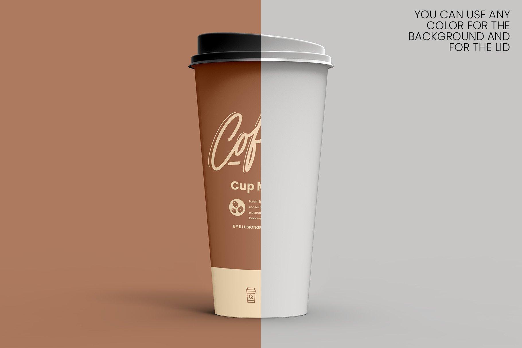 8个一次性咖啡外卖纸杯设计贴图样机模板 Coffee Cup Mockup – 8 views插图9