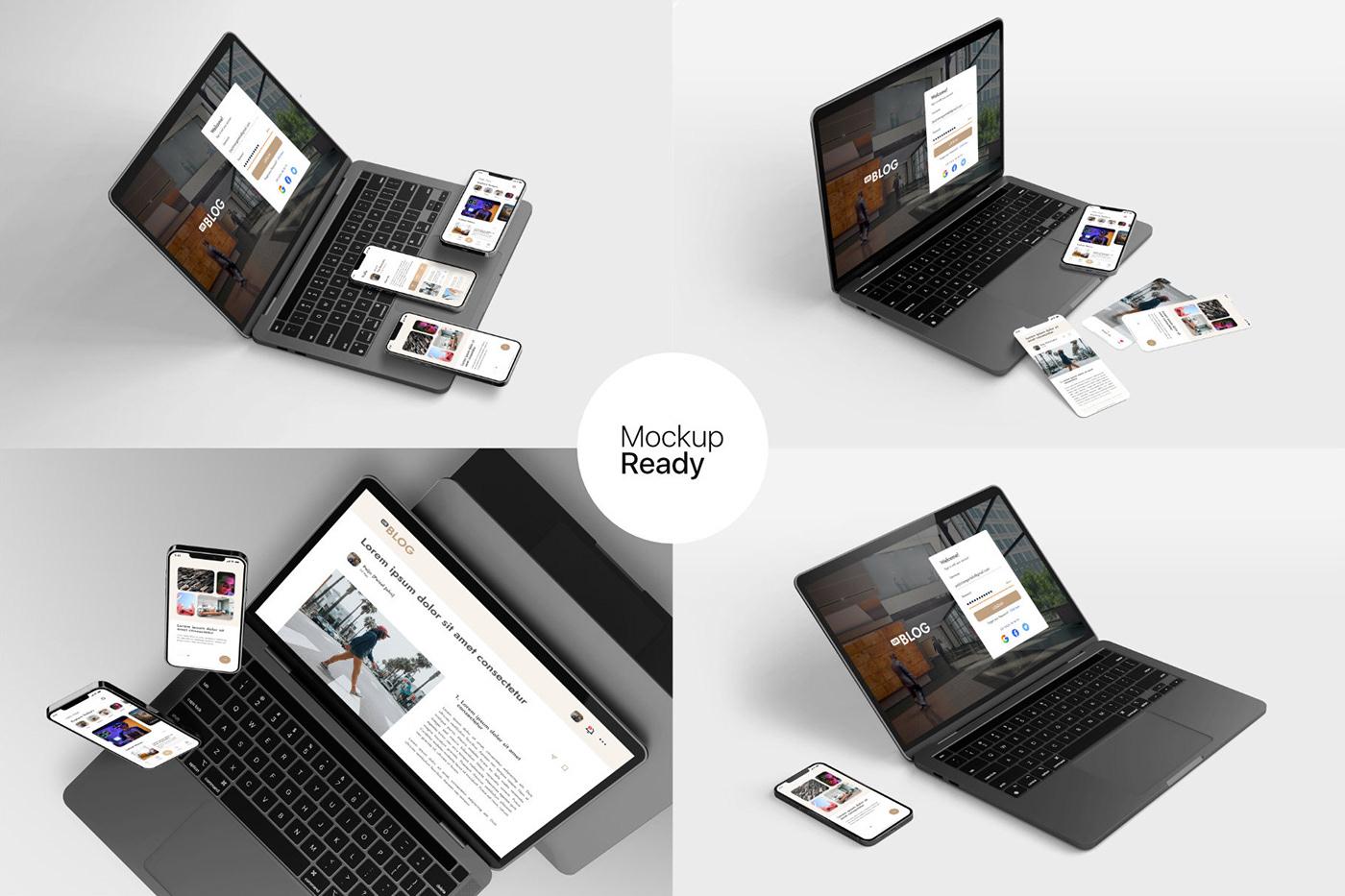 15个自适应网页APP界面设计苹果设备屏幕演示样机模板 UI/UX App Presentation – Phone & Notebook Mockup插图9