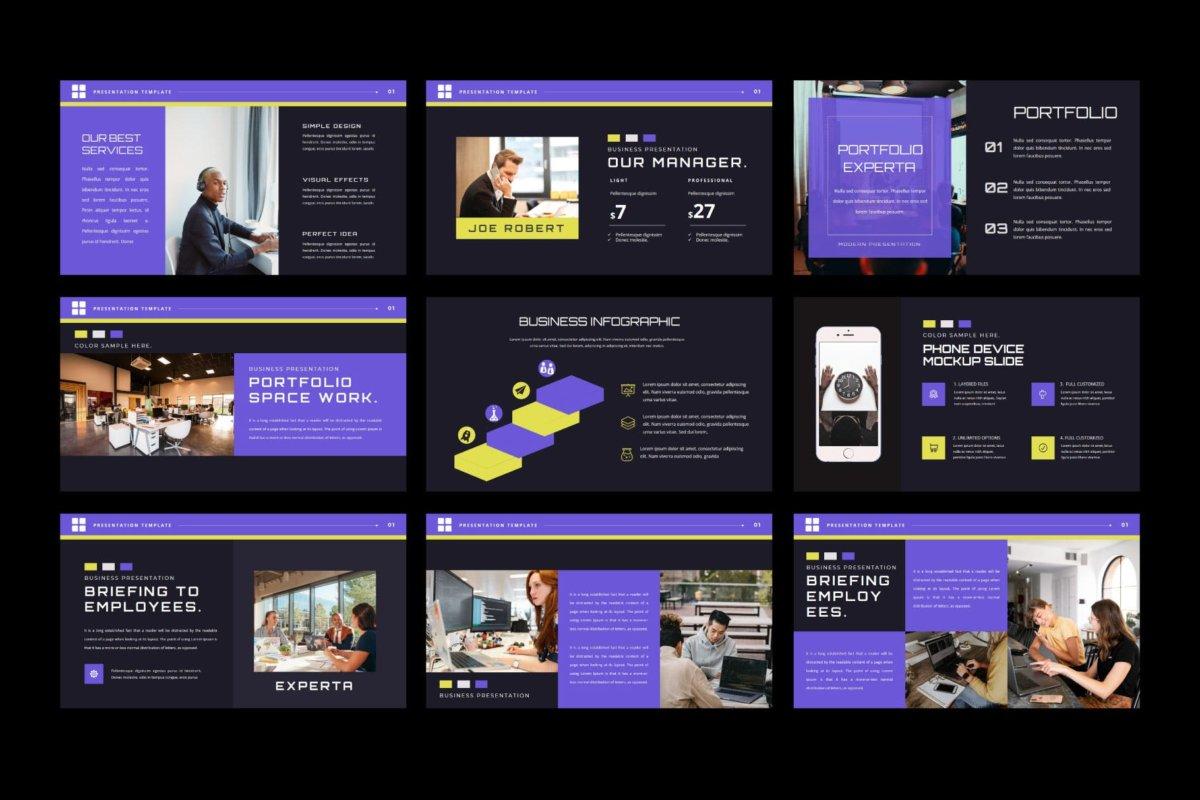 潮流企业营销策划提案简报演示文稿设计模板 EXPERTA Powerpoint Template插图8
