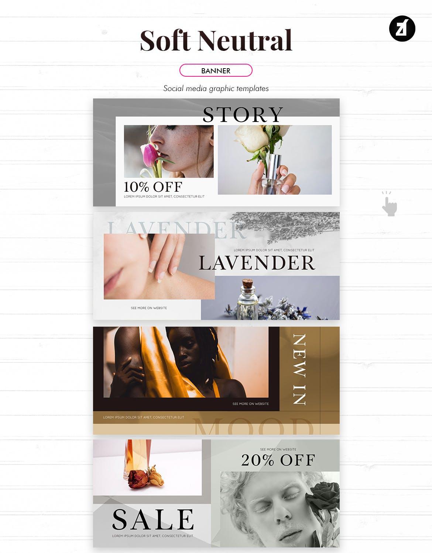 时尚化妆护肤品品牌推广新媒体电商海报模板 Soft Neutral Social Media Graphic Templates插图9