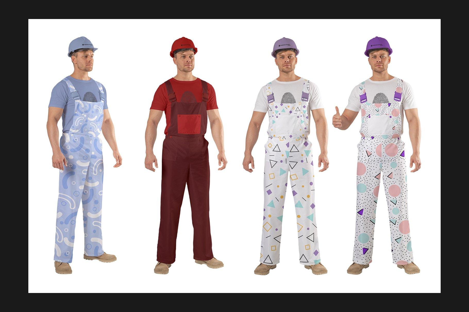 45个超大工装帽子安全帽品牌Logo设计智能贴图样机PSD模版素材 Working Overalls Suit Mock-Up Set插图9