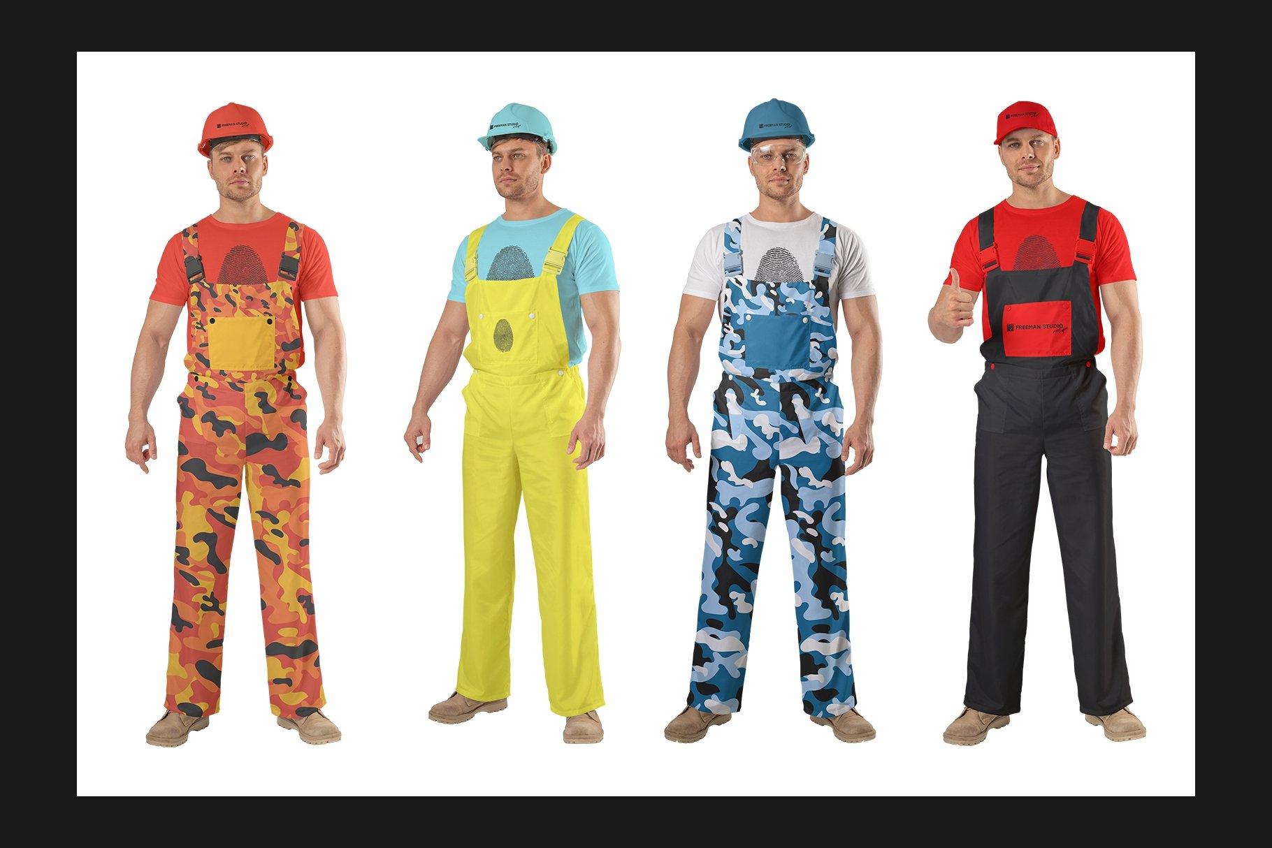 45个超大工装帽子安全帽品牌Logo设计智能贴图样机PSD模版素材 Working Overalls Suit Mock-Up Set插图10