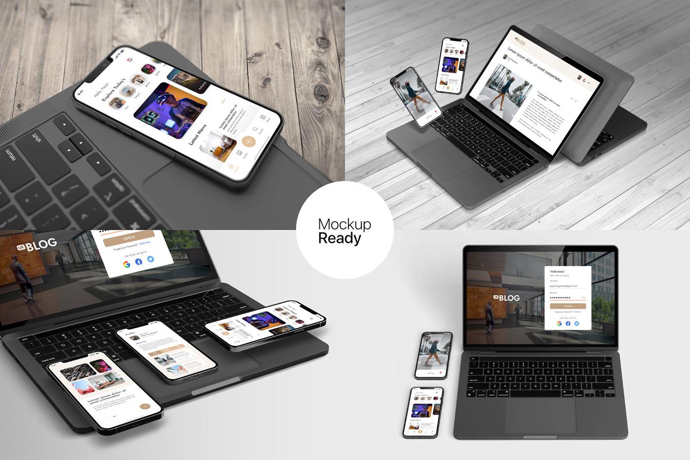 15个自适应网页APP界面设计苹果设备屏幕演示样机模板 UI/UX App Presentation – Phone & Notebook Mockup插图10