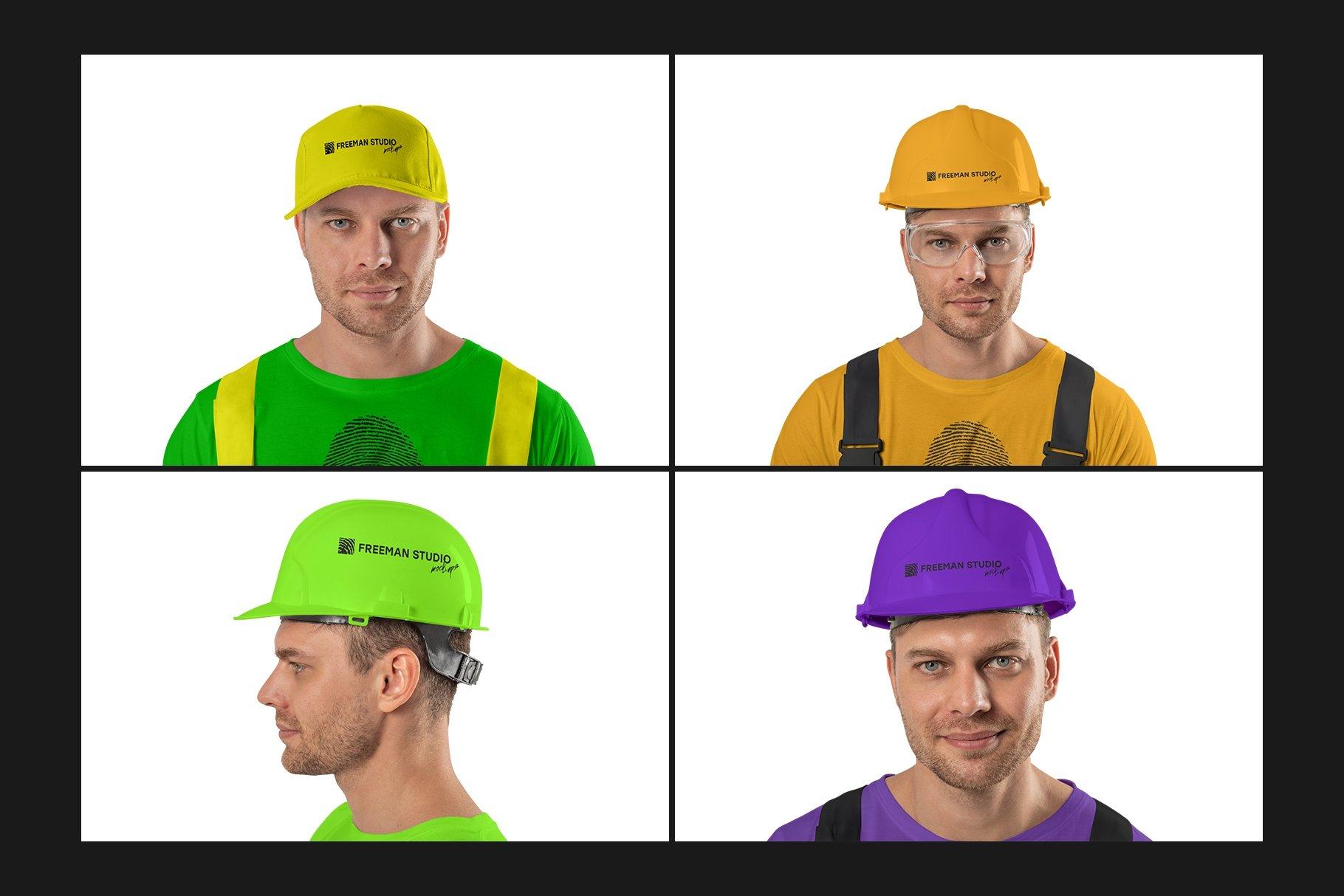45个超大工装帽子安全帽品牌Logo设计智能贴图样机PSD模版素材 Working Overalls Suit Mock-Up Set插图11