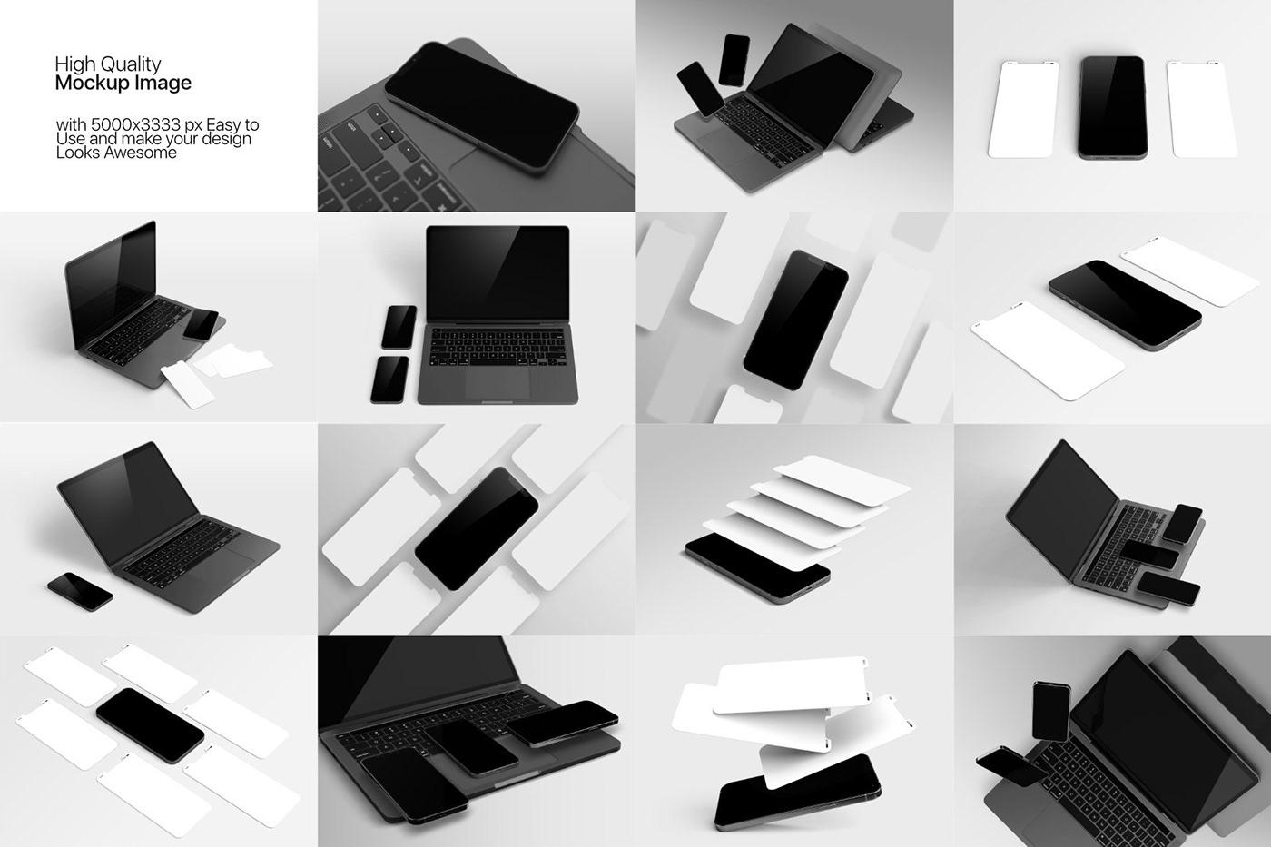 15个自适应网页APP界面设计苹果设备屏幕演示样机模板 UI/UX App Presentation – Phone & Notebook Mockup插图11