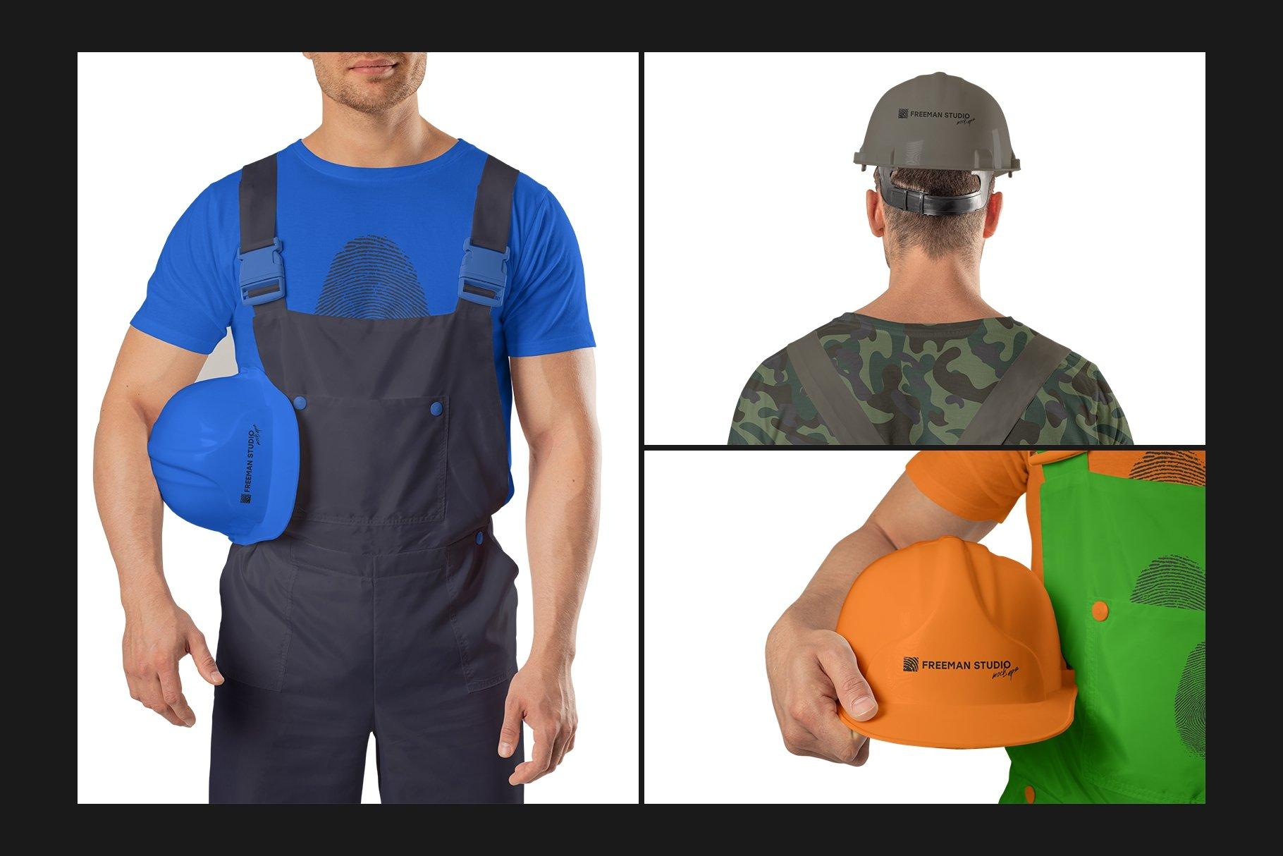 45个超大工装帽子安全帽品牌Logo设计智能贴图样机PSD模版素材 Working Overalls Suit Mock-Up Set插图12