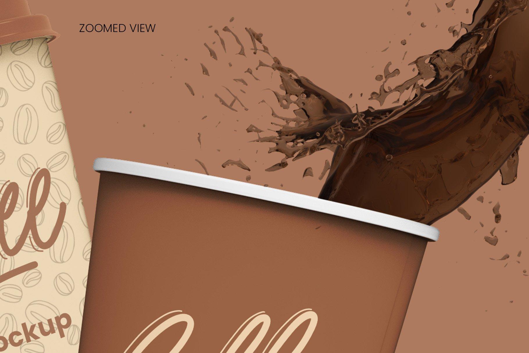 8个一次性咖啡外卖纸杯设计贴图样机模板 Coffee Cup Mockup – 8 views插图12