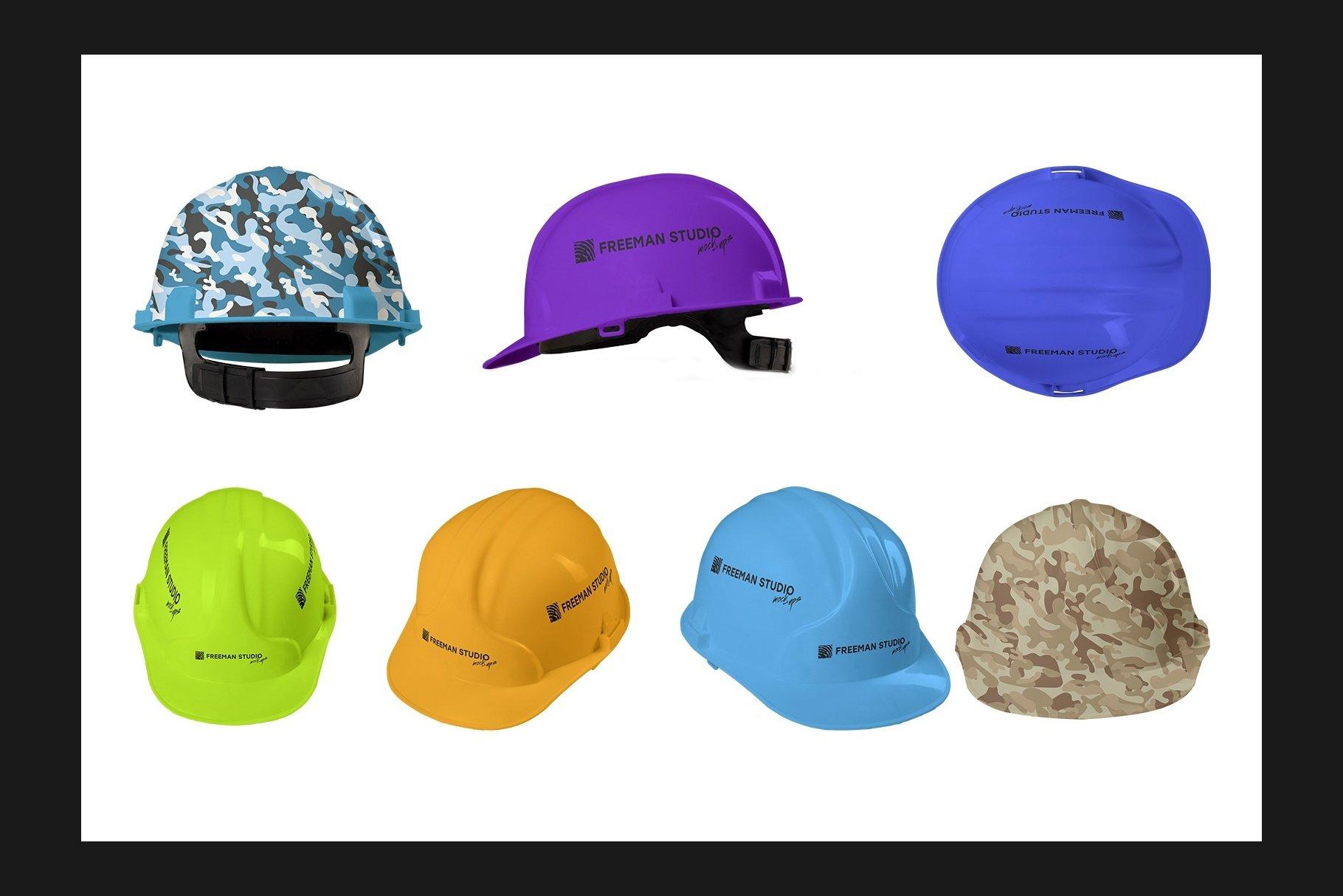 45个超大工装帽子安全帽品牌Logo设计智能贴图样机PSD模版素材 Working Overalls Suit Mock-Up Set插图14