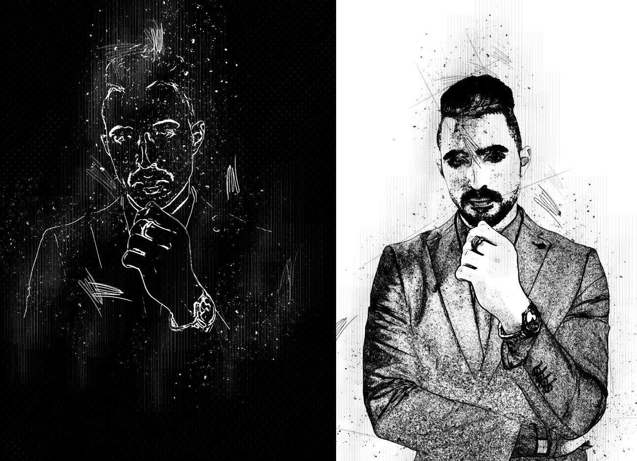 黑白素描艺术画效果照片处理特效PS动作素材 Black & White Sketch PS Action插图2