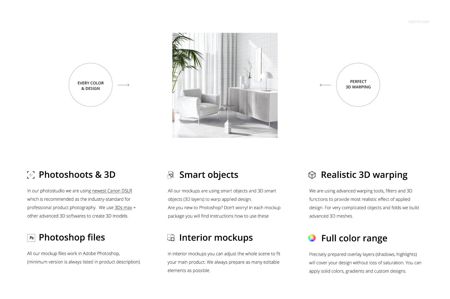 时尚室内沙发印花图案设计贴图PSD样机模板 Interior Scene Mockup插图1