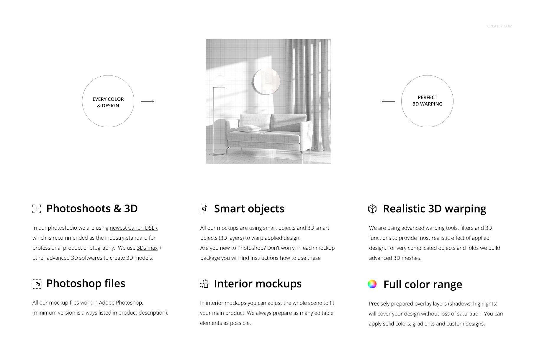 带阴影室内双人沙发印花图案设计PS贴图样机模板 Interior Scene Mockup插图1