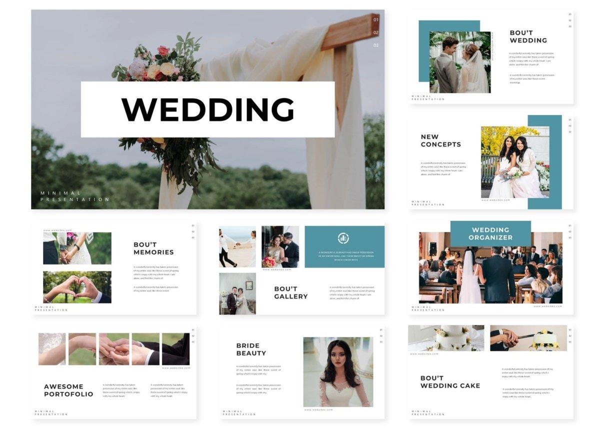 唯美婚礼摄影作品集演示文稿设计模板 Wedding  Powerpoint Template插图1