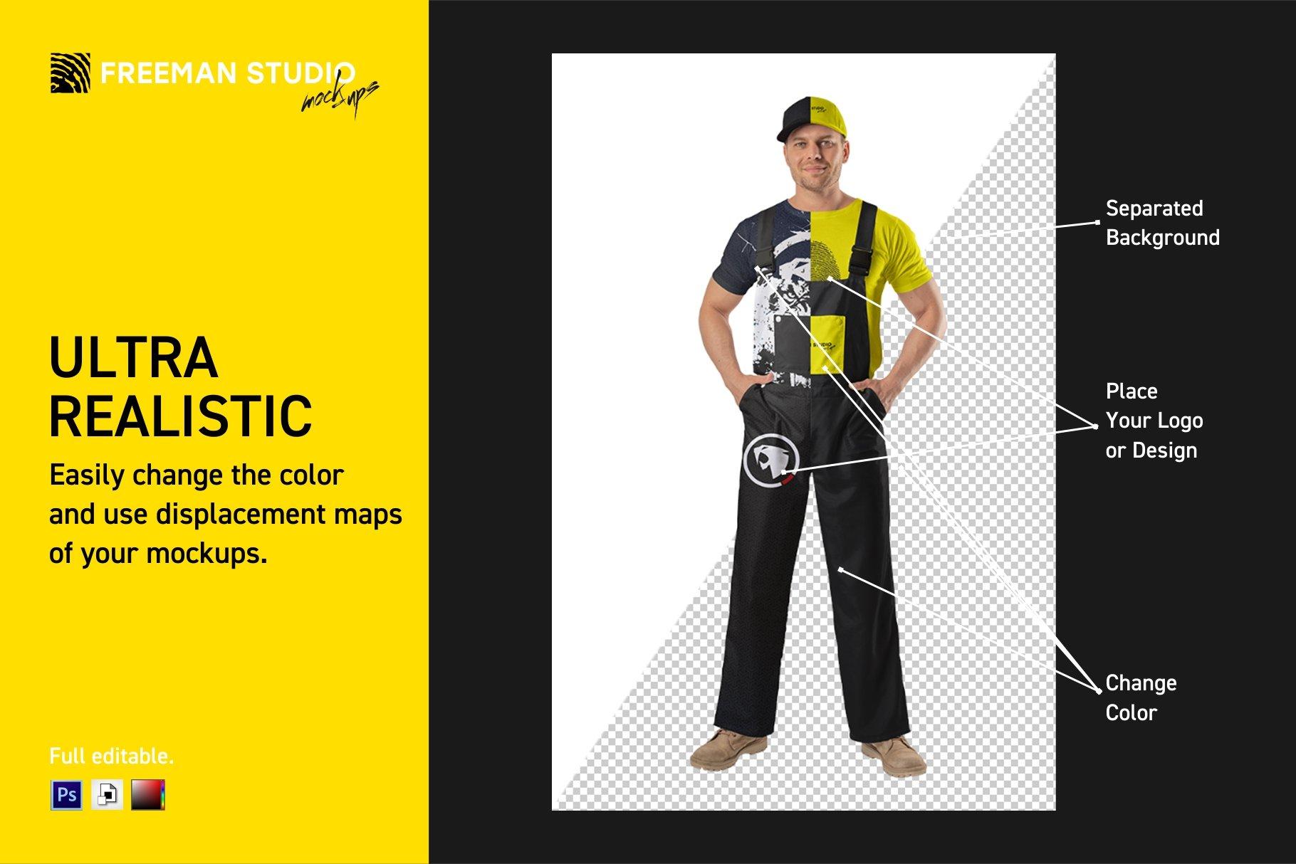 45个超大工装帽子安全帽品牌Logo设计智能贴图样机PSD模版素材 Working Overalls Suit Mock-Up Set插图1