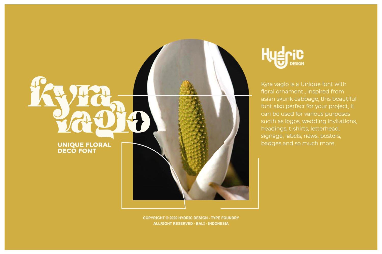 优雅海报标题徽标Logo设计花卉装饰英文字体下载 Kyra Vaglo Font插图1