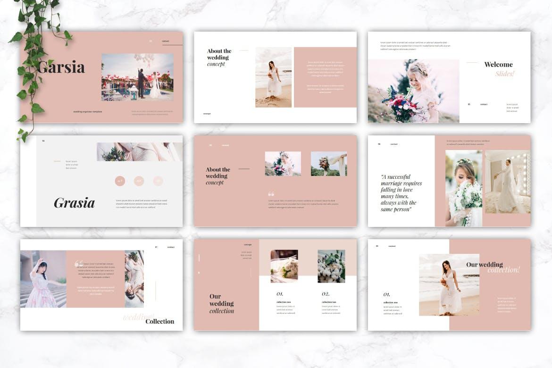 精美粉色系婚礼摄影作品集演示文稿设计模板 GARSIA – Wedding Organization Powerpoint Template插图1