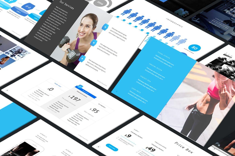 时尚简约健身主题营销策划演示文稿设计模板 Fitness and Gym – PowerPoint Template插图1