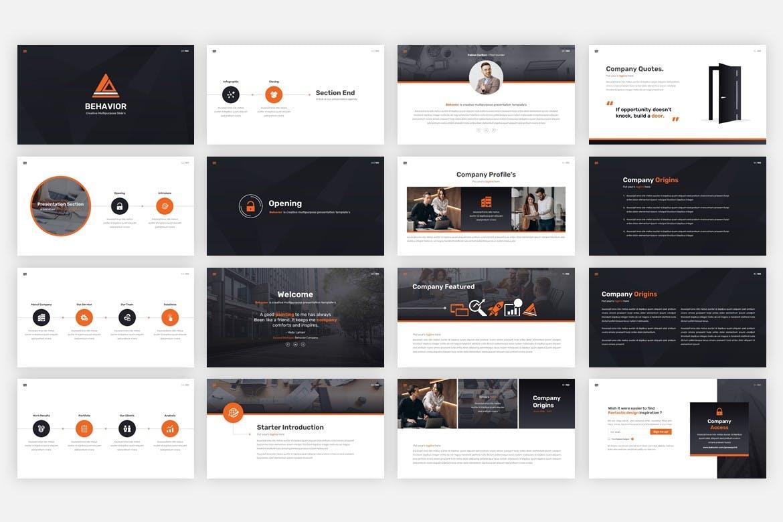 多用途黑白色系商业幻灯片模版 Behavior – Multipurpose Google Slides Template插图1