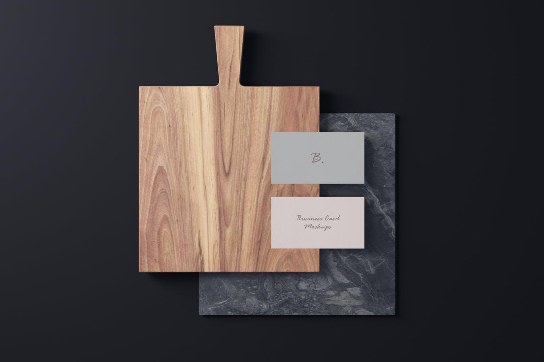 4个商务名片卡片设计样机模板 Business Card Mockups插图1