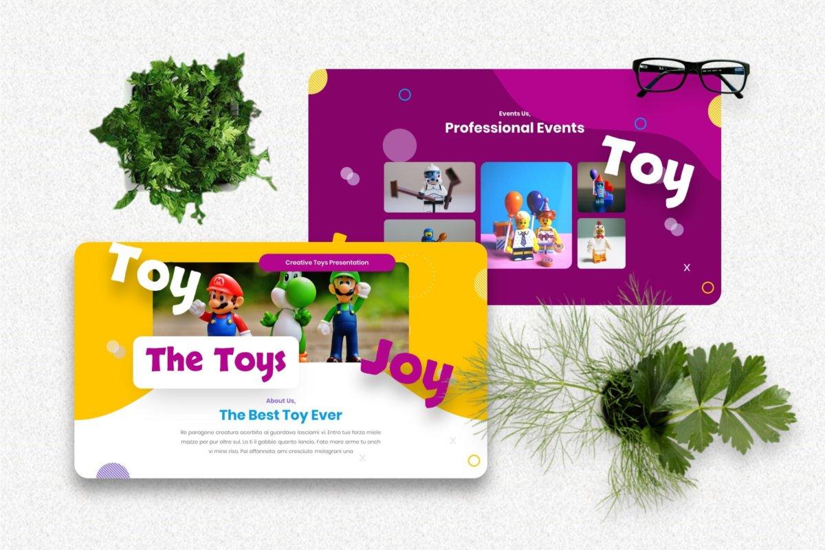 创意炫彩儿童主题作品集演示文稿设计模板 Joytoy – Kids Toy Powerpoint Templates插图1