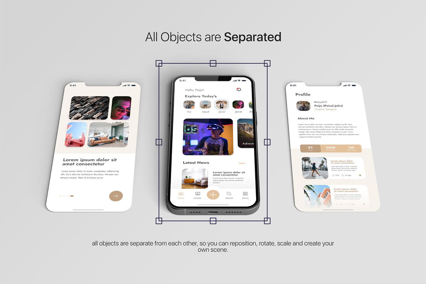 15个自适应网页APP界面设计苹果设备屏幕演示样机模板 UI/UX App Presentation – Phone & Notebook Mockup插图1