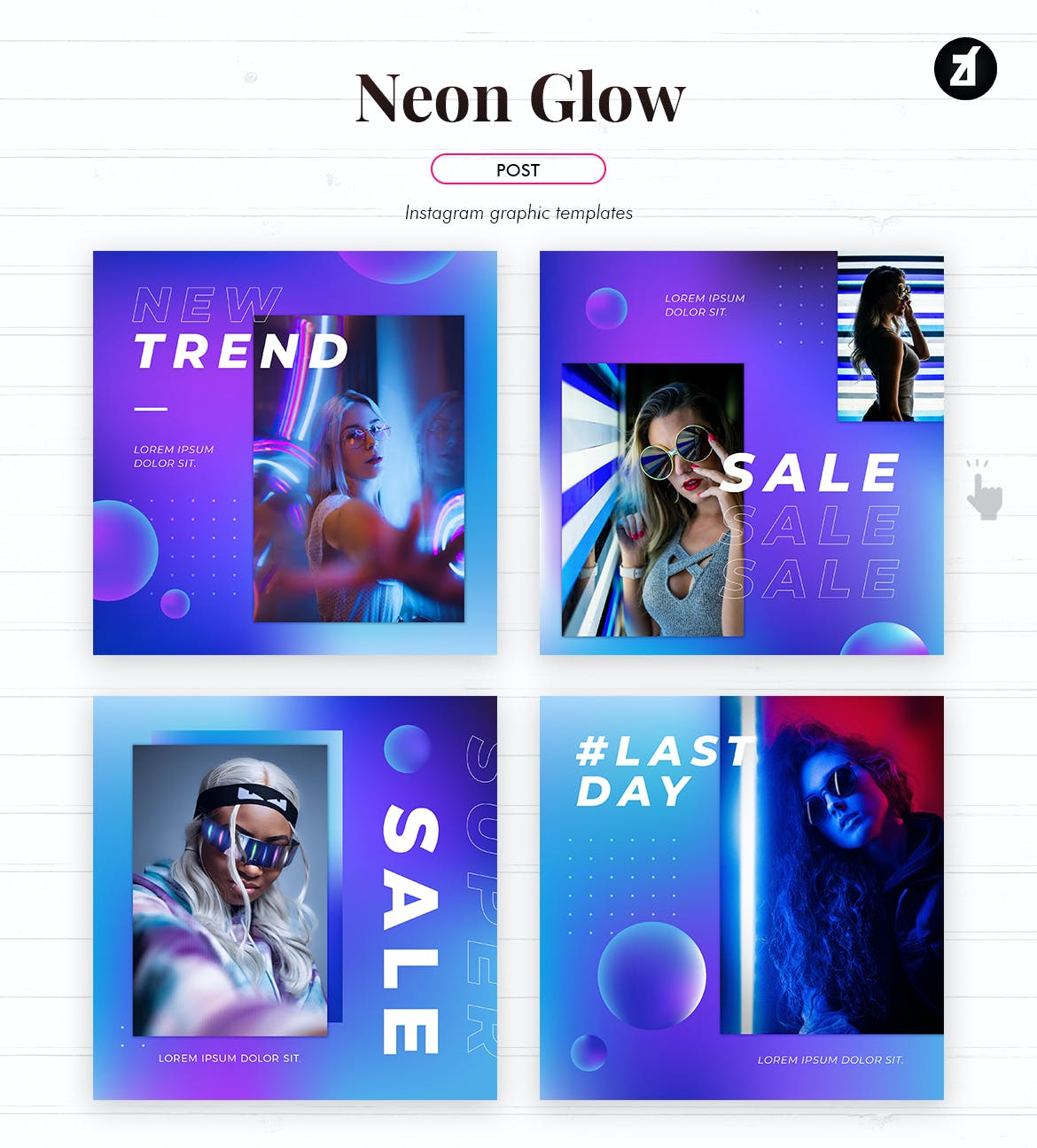 潮流霓虹灯效果品牌推广新媒体电商海报模板 Neon Glow Social Media Graphic Templates插图1