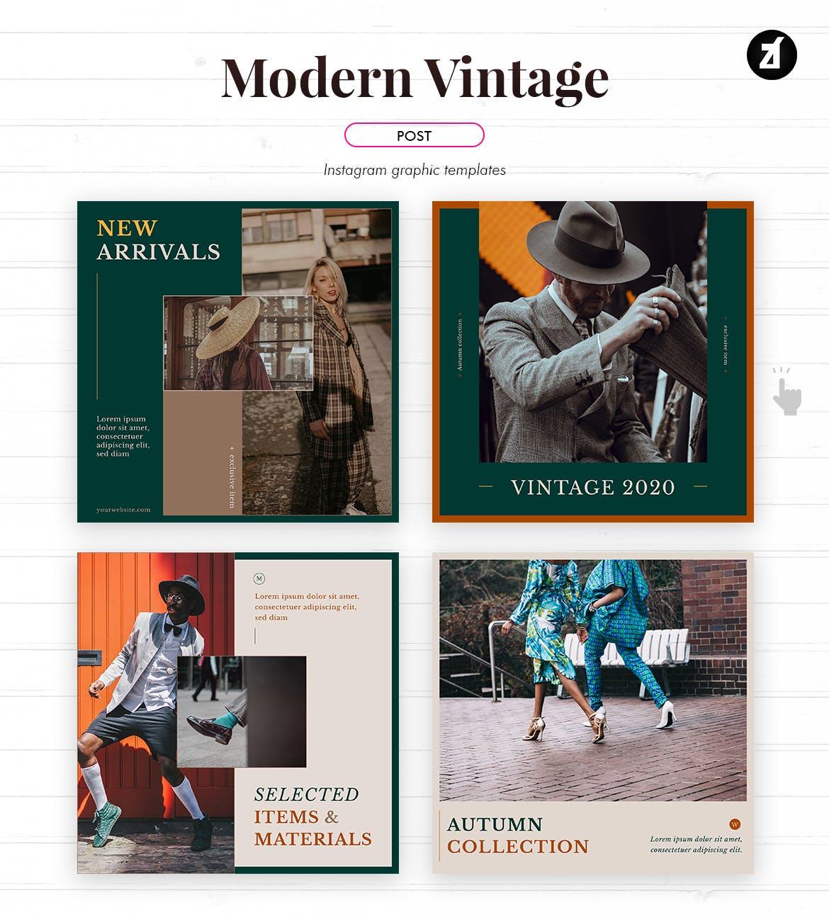 现代复古服装品牌推广新媒体电商海报PSD模板 Modern Vintage Social Media Graphic Templates插图1