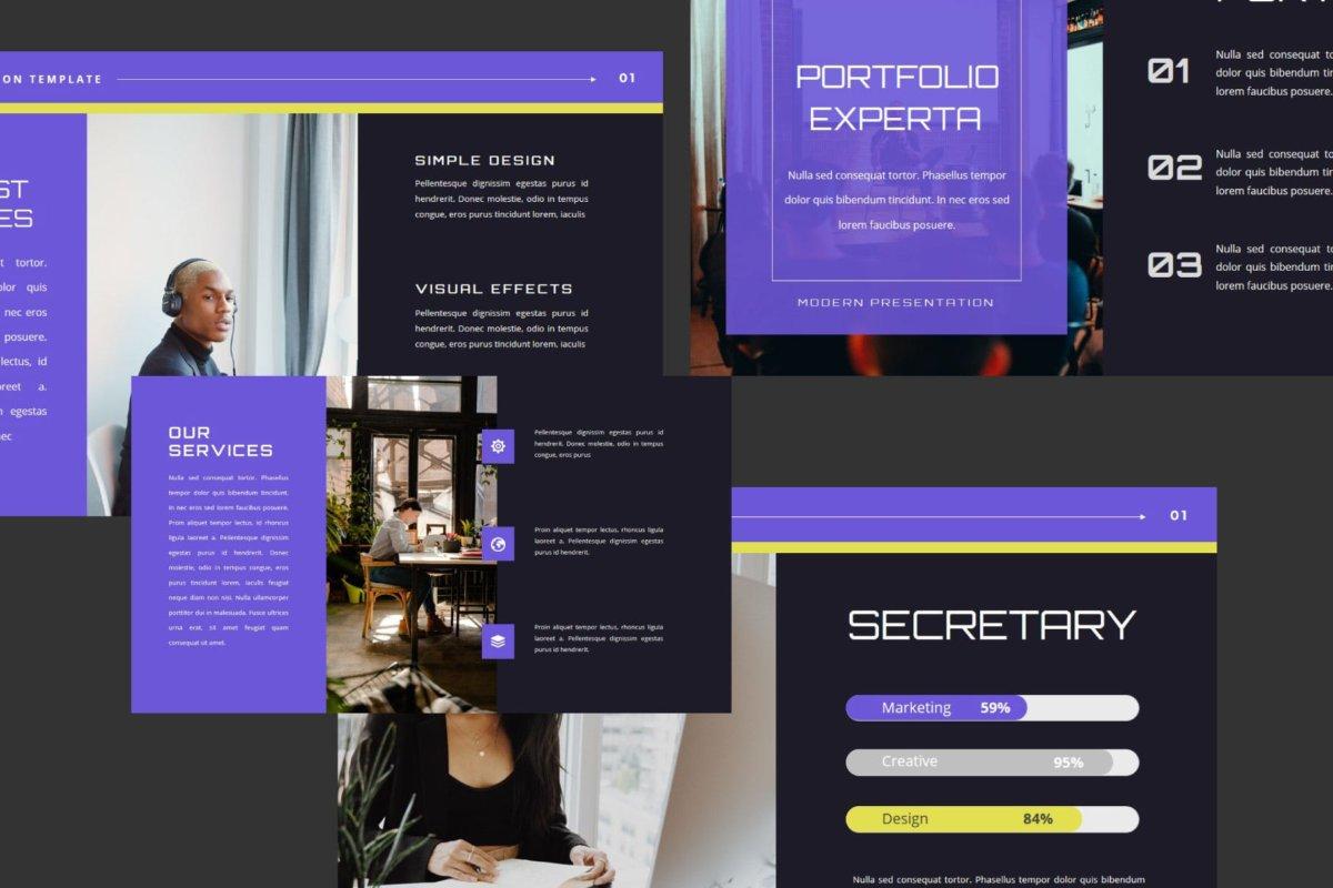 潮流企业营销策划提案简报演示文稿设计模板 EXPERTA Powerpoint Template插图1